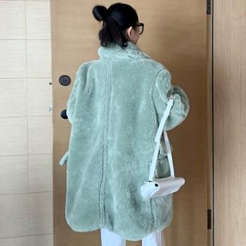 Модерно дамско дълго палто с копчета и джоб в бял,розов и зелен цвят
