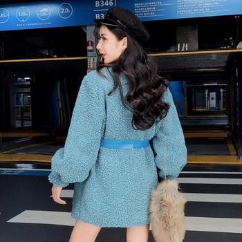 Модерно дамско палто с връзки в син и розов цвят