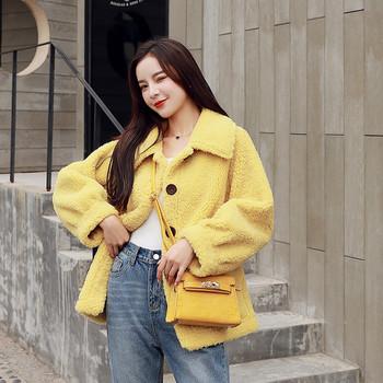 Нов модел дамско палто с копчета в бял,жълт и зелен цвят