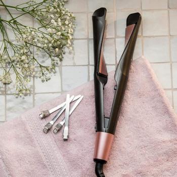 Κεραμική πρέσα μαλλιών με σχήμα σπιράλ για μπούκλες και ίσιωμα σε μαύρο χρώμα