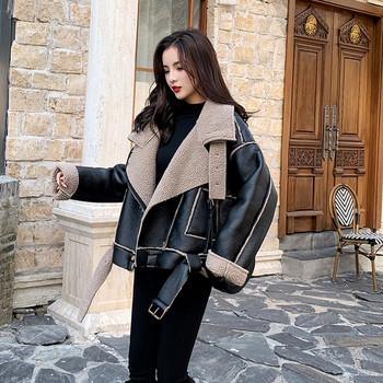 Нов модел дамско зимно палто с мека подплата в черен цвят