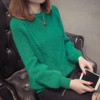 Дамски модерен пуловер с овално деколте в няколко цвята