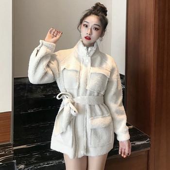 Дълго зимно пухено палто с джобове в два цвята