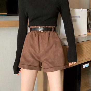 Модерен къс панталон с висока талия и колан от еко кожа