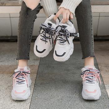 Зимни дамски маратонки с мека подплата и груба подметка