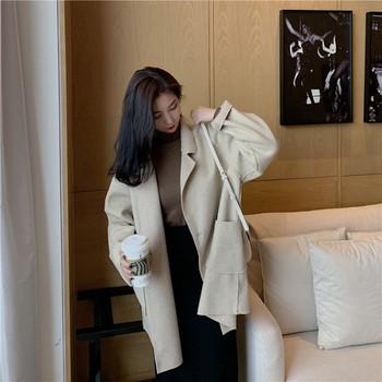 Широко пролетно-есенно палто с джобове в бежов цвят