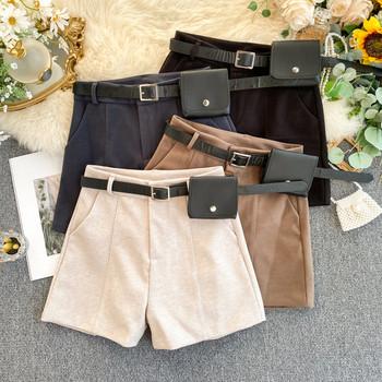 Къси зимни дамски панталони с колан в четири цвята