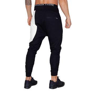 Мъжки спорни панталони с връзки в черен и сив цвят
