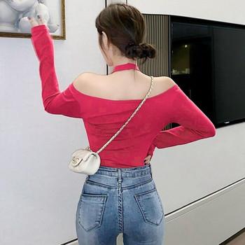 Дамска вталена блуза от тънко плетиво с голи рамене