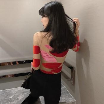 Дамска вталена блуза от тюл и кадифе