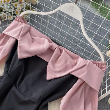 Модерна дамска рокля с панделка в розов и жълт цвят