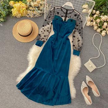 Дълга дамска рокля от кадифе в черен и син цвят