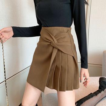 Къса асиметрична пола в кафяв и черен цвят
