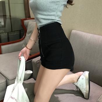 Къси вталени дамски панталони от деним с цип