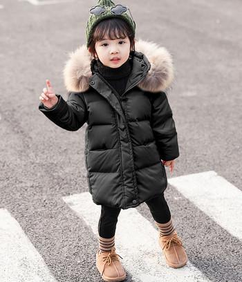 Нов модел зимно детско яке за момичета в черен,син и бежов цвят