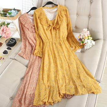 Модерна дамска рокля с флорален десен в пет цвята