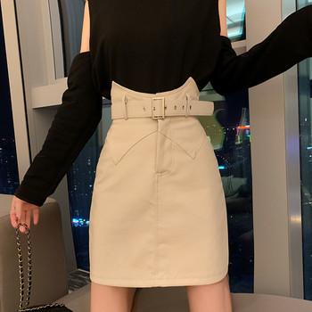 Дамска модерна пола от еко кожа с колан и висока талия