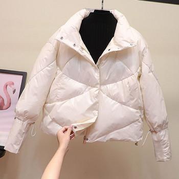 Стилно дамско зимно яке с копчета и цип в четири цвята