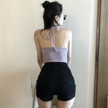 Къси дамски панталони от деним в черен цвят