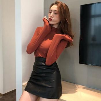 Дамска  вталена блуза с поло яка в много цветове