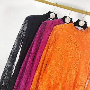 Дамска рокля от дантела в оранжев,цикламен и черен цвят