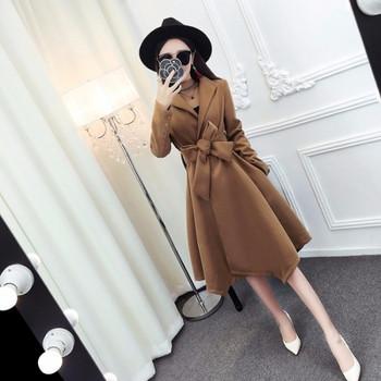 Дълго асиметрично палто с колан в кафяв и черен цвят