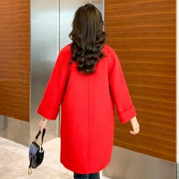 Модерно дамско зимно палто с копче и джобове в червен цвят