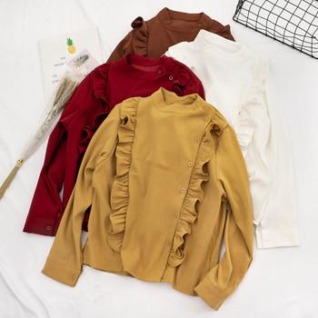 Модерна дамска риза в пет цвята с копчета и дълъг ръкав