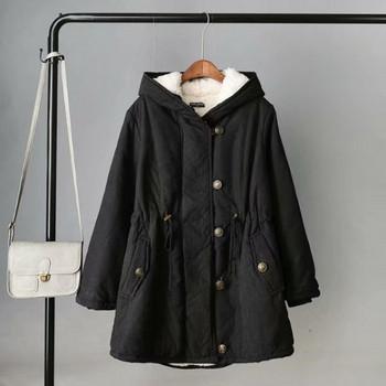 Ежедневно дамско зимно яке с качулка и мека подплата в четири цвята
