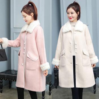 Нов модел дамско палто с копчета и пух в два цвята