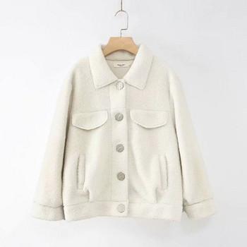 Модерно дамско палто с копчета и класическа яка в бял и кафяв цвят