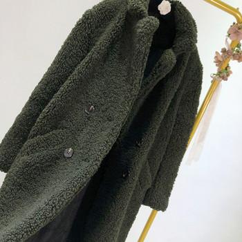 Дълго модерно пухено палто в черен цвят с джобове