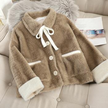 Дамско късо пухено палто  с копчета в три цвята