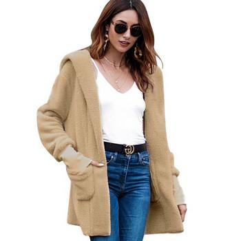 НОВ модел дамско зимно палто без закопчаване и качулка в четири цвята