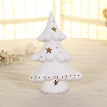 Декоративна керамична елха с LED осветление в бял цвят