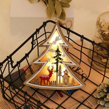 Декоративни дървени орнаменти с LED светлина - 4 модела