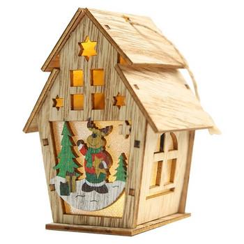 Декоративна дървена къщичка с коледни мотиви и LED светлина - 6 модела