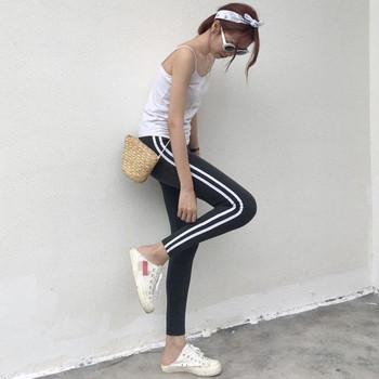 Дълъг спортно-ежедневен клин в черен и сив цвят с кант