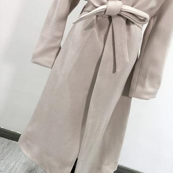 Дълго елегантно палто с колан в бежов цвят