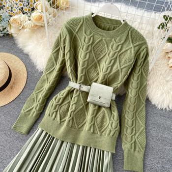 Ежедневен дамски комплект от две части включващ пуловер и пола в три цвята