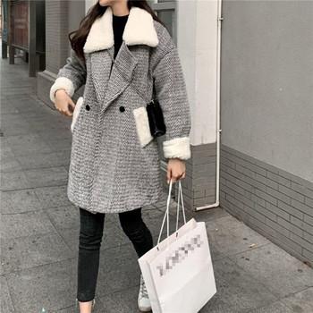 Дълго елегантно палто с копчета и пух