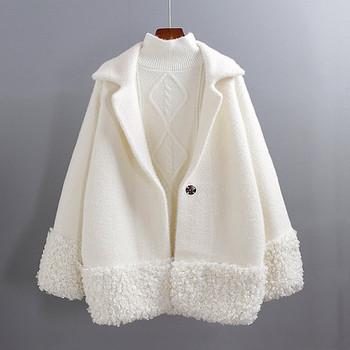 Актуално дамско палто с шпиц деколте и копче -няколко цвята