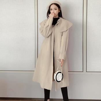 Стилно дамско палто дълъг модел и колан на талията