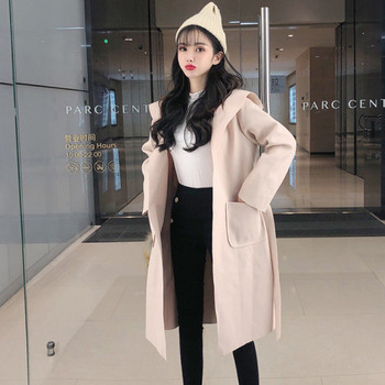 Стилно дамско палто с шпиц деколте в два цвята