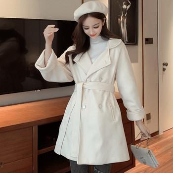 Дамско зимно  палто  широк модел в черен и бял цвят