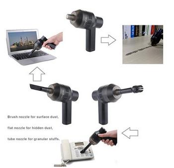 Малък ръчен вакуум уред за почистване на прах с две приставки в черен цвят