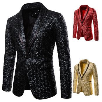 НОВ модел мъжко сако с копче в черен,червен и златист цвят