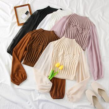 Нов модел дамска блуза с ръкави от тюл в няколко цвята