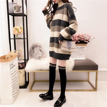 Дълъг дамски зимен пуловер с висока яка в два цвята - широк модел