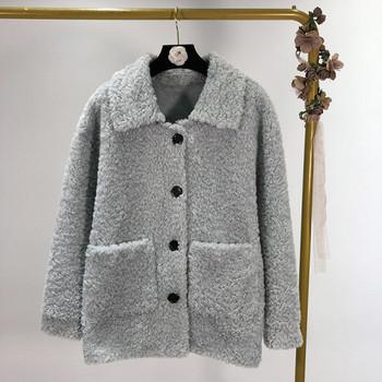 Дамско пухено палто подходящо за есен и зима с копчета в бял,бежов,син и розов цвят